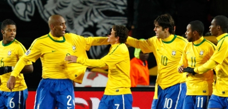 Brazilians celebrating the first goal